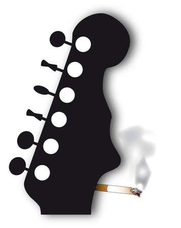 headstock: A headstock with a face silhouette smoking a cigarette isolated over a white background Illustration
