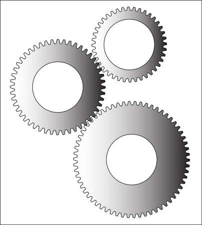 dissimilar: A set of gears of dissimilar sizes over a white background