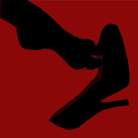 hosiery: A stockinged foot slipping of a stiletto heel shoe