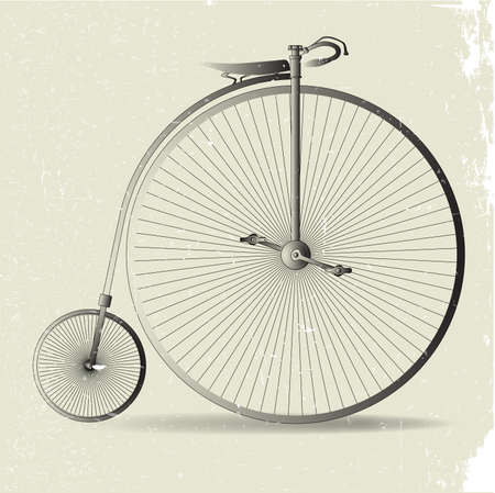 spoked: A typical penny farthing bicycle with grunge effect Illustration