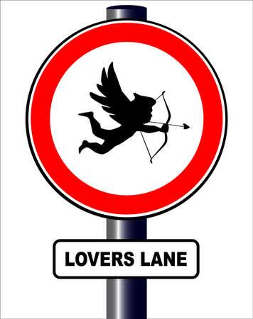 Un signe de la circulation spoof avec Cupidon et l'amoureux de préavis voie tous isolé sur un fond blanc