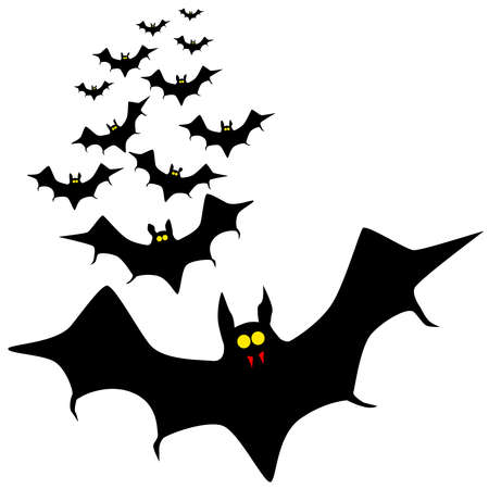 vampire bats: Vampire bats flying in formation isolated on a white background