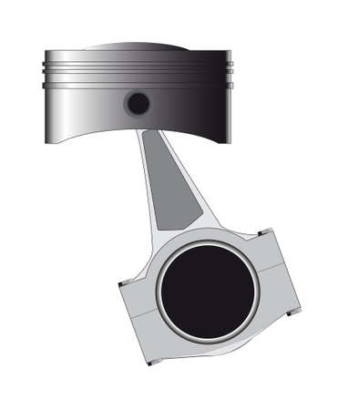 A piston from a petrol or diesel engine with the conecting rod in place isolated over a white background Vector