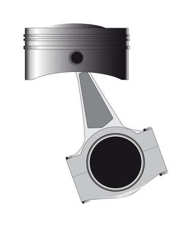 Un piston d'un moteur à essence ou diesel avec la tige conecting en place isolé sur un fond blanc Vecteurs
