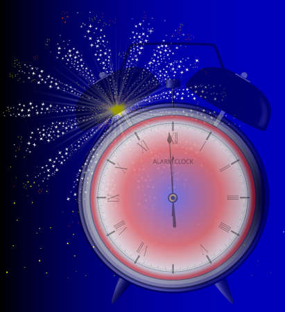 12 o'clock: A clock at midnight with a sky rocket firework