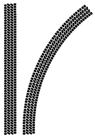 tyre tread: Two tyre tread patterns isolated on a white background