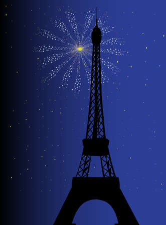 Paris at night with the Eiffel tower Vector