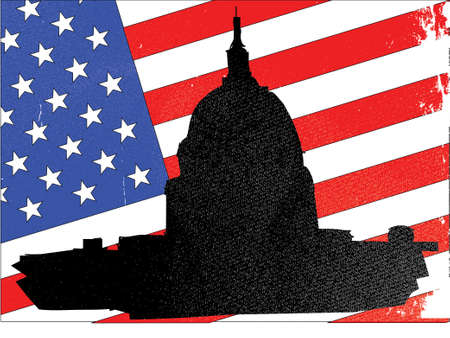 capitol hill: Washingto icon with starts and stripes background Illustration