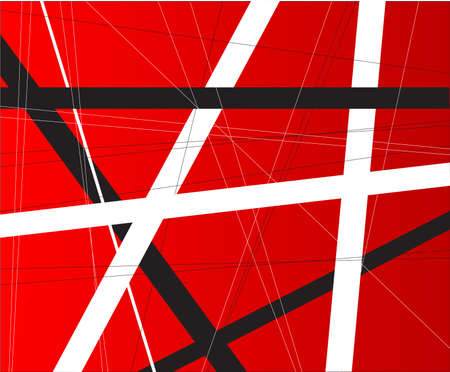 criss cross: A red background with black and white criss cross items