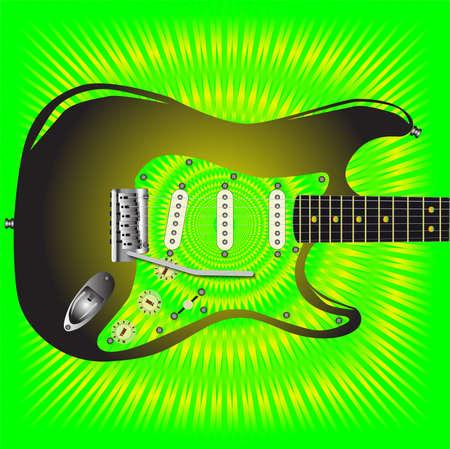 jazzy: A green jazzy splash grunge background for a black guitar  Illustration