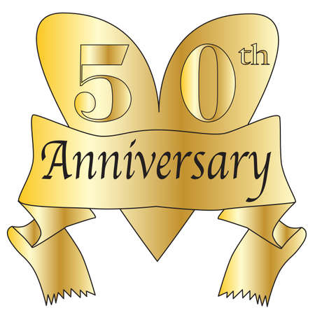 50th anniversary heart in gold with scroll text isolated on a white background