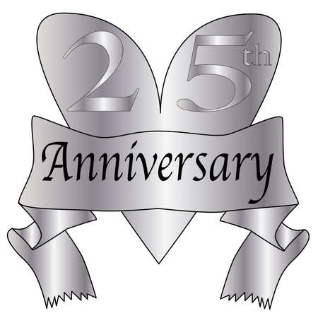 25th anniversary icon in silver isolated on a white background Vector