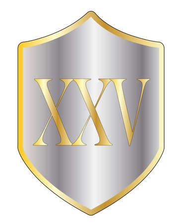 roman numerals: A typical shield with 25 in Roman numerals all isolated on a white background