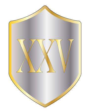 numeros romanos: Un escudo t�pico con 25 en n�meros romanos todos aislados en un fondo blanco Vectores