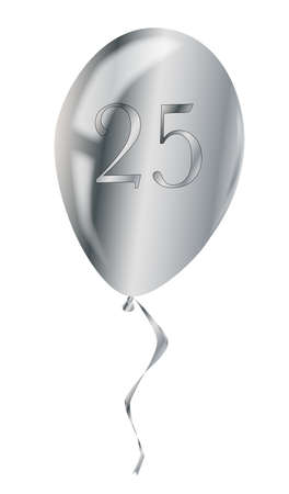 flyaway: A flyaway silver anniversary balloon isolated over a white background