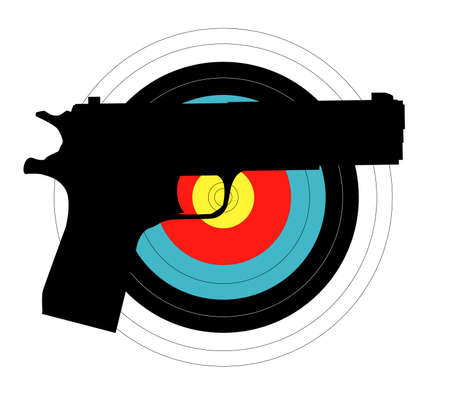 Silhouette of a rifle against a target all isolated on white Illustration