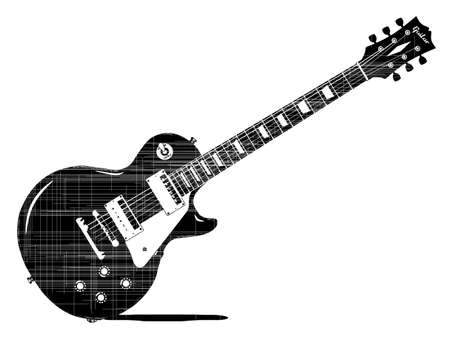 les: A black electric guitar drawing woth grunge markings isolated on a white background