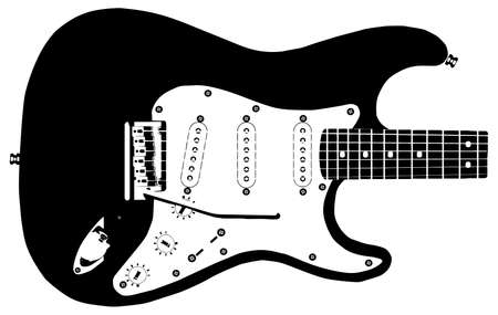 modern rock: Drawing of a modern rock guitar isolated on a white background
