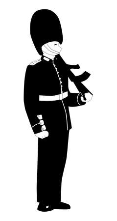 bearskin: A British Coldstream Guard on duty against a white background