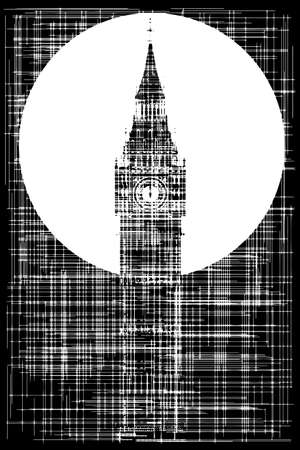 bell tower: Big Ben as a grunge background in black and white