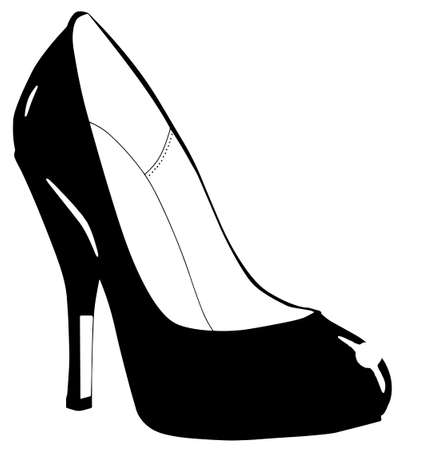 Sketch of a black stiletto heel shoe isolated on a white background Vector