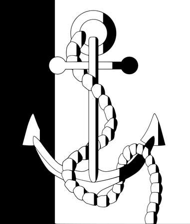 half tone: A half tone anchor icon isolated on a white and black background
