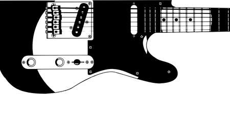 Drawing of a typical electric guitar isolated on white  Illustration