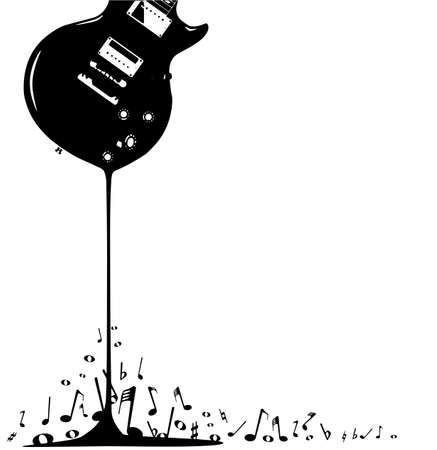 An electric guitar pouring out musical notes isolated on a white background  Vector