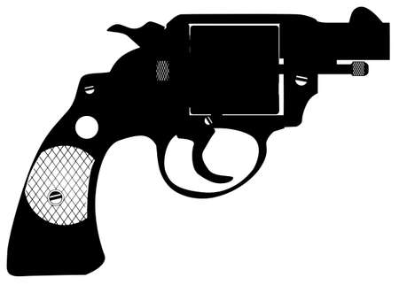 six gun: A police detectives revolver isolated on a black background