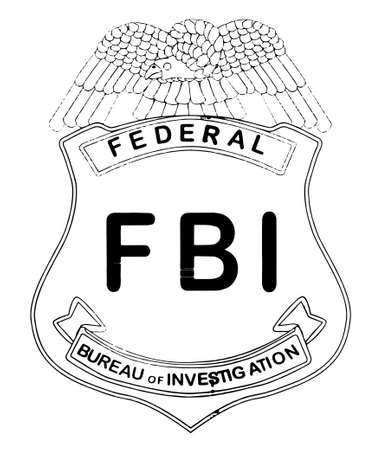 An FBI badge drawing isolated on white  Vettoriali