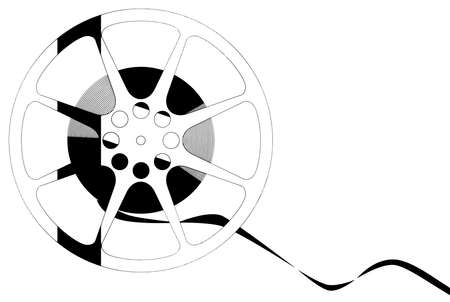 recorded: An abstract black and white real of movie film isolated on a white background
