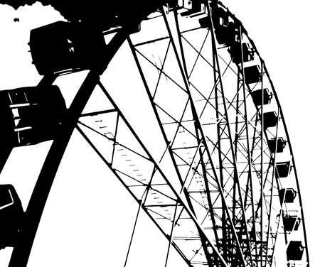 half tone: A big fairground big wheel in half tone Illustration