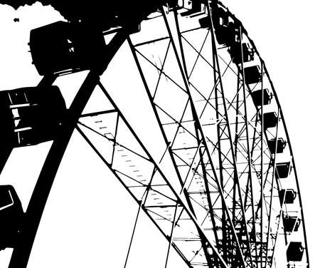 A big fairground big wheel in half tone Illustration