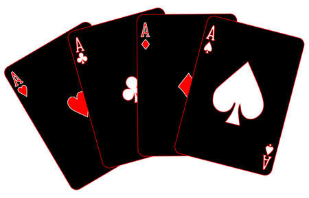 The four aces on black with red trim all isolated on a white background