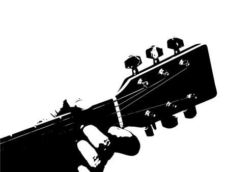 A guitar neck with a chord being fretted  Illustration