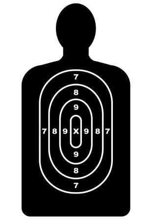leque: Um alvo contorno humano, como usado em galerias de tiro