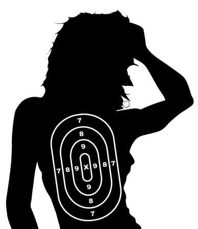 spoof: A spoof female human target shape isolated on white
