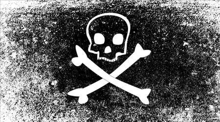 pillage: A typical skull and crossbones pirate vesel flag Illustration