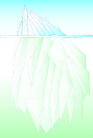 below: Typical iceberg showing above and below the water line