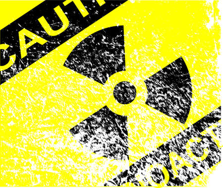 A Caution Radiation sign in yellow and black with heavy white grunge efect Vector