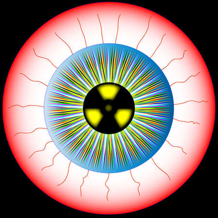 A multicoloured eye isolated over a white background with the radiation symbol in the pupil