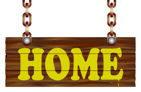 A hanging wooden sign isolated against a white background with the legend HOME