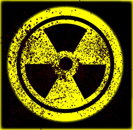 Radiation sign with grunge effects Vector