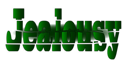 jealousy: The word JEALOUSY in green fragmenting text
