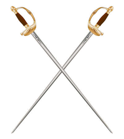 napoleon: A crossed pair of French Infantry Officer Swords as used in the time of Napoleon 3rd  Illustration