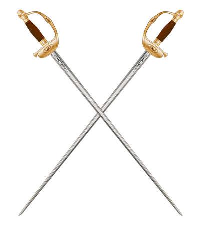 napoleon: Een gekruist paar van de Franse infanterie officier Zwaarden zoals gebruikt in de tijd van Napoleon 3