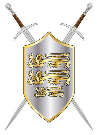 A sword typical of a knight of old isolated on a white background with shield and enblem Vector