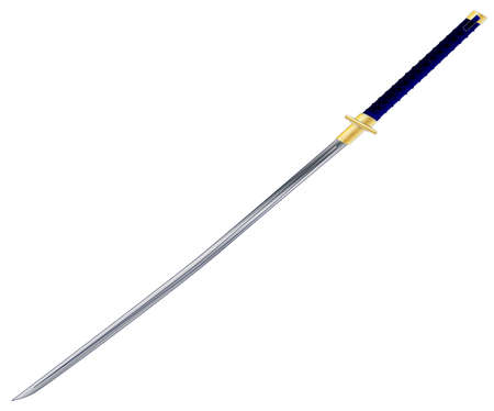 kata: A typical Samurai sword isolated on a white background