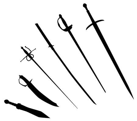 cavalier: A collection of sword silhouettes isolated on white