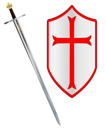 A sword of the type ised by a crusader around 1100 AD isolated on a white background